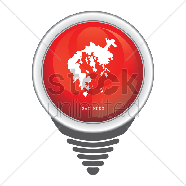 navigation pointer with sai kung map vector graphic