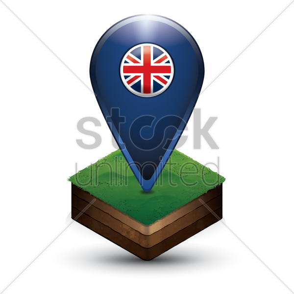 navigation pointer with united kingdom flag vector graphic