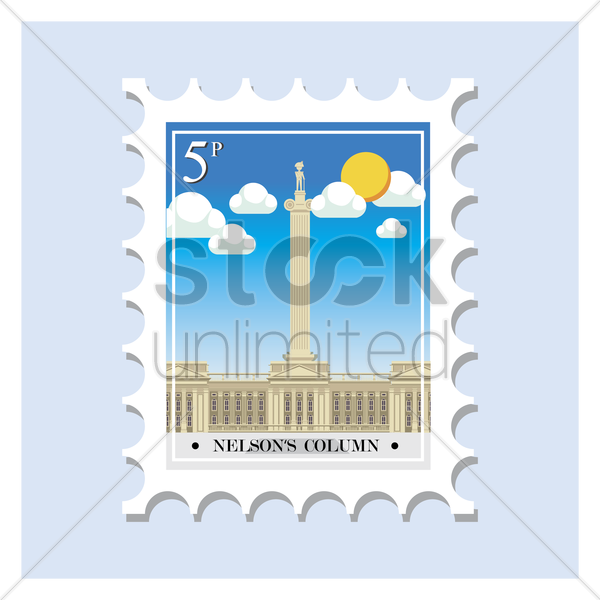 nelson's column postage stamp vector graphic
