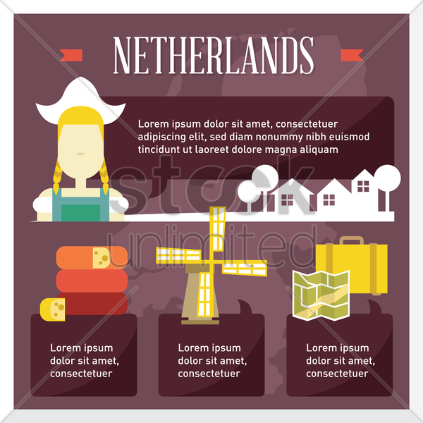 netherlands travel infographic vector graphic