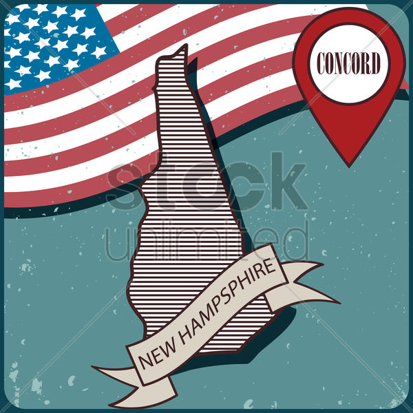 new hampshire map label vector graphic