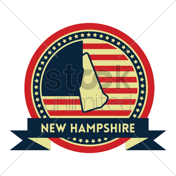 Free new hampshire map label vector graphic