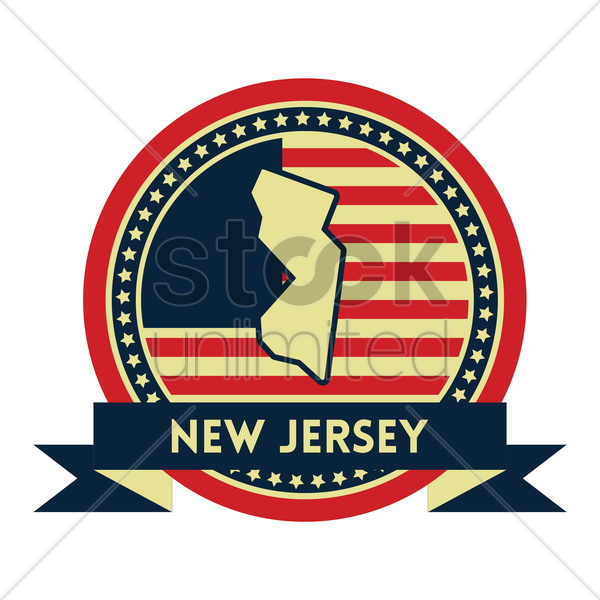Free new jersey map label vector graphic