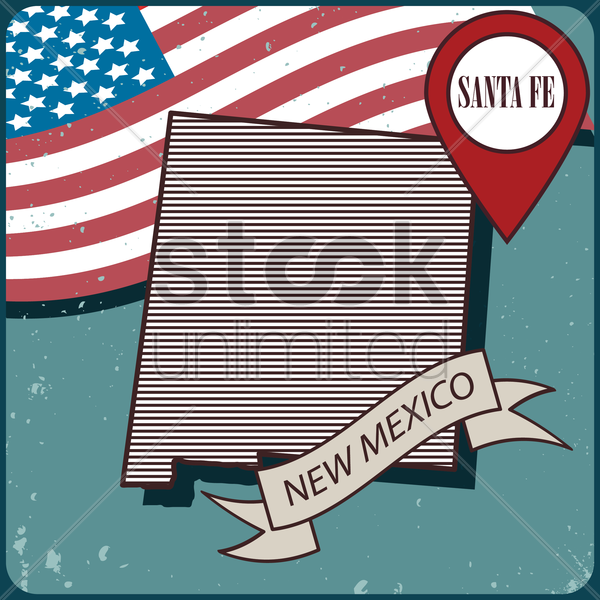 new mexico map label vector graphic
