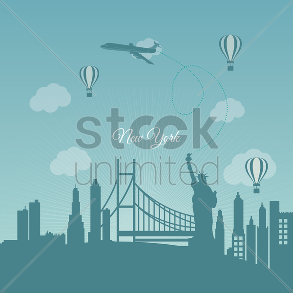 new york travel background vector graphic