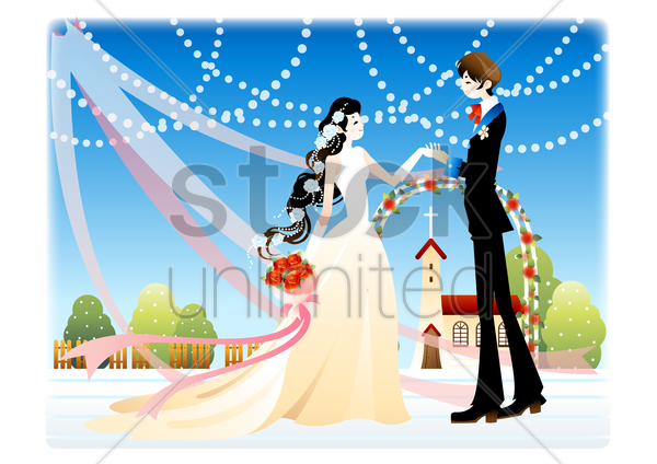 newlyweds dancing vector graphic