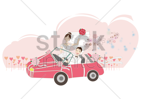 newlyweds in car vector graphic