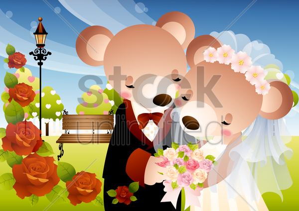 newlyweds teddy vector graphic