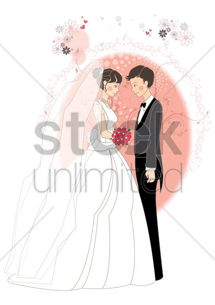 newlyweds vector graphic
