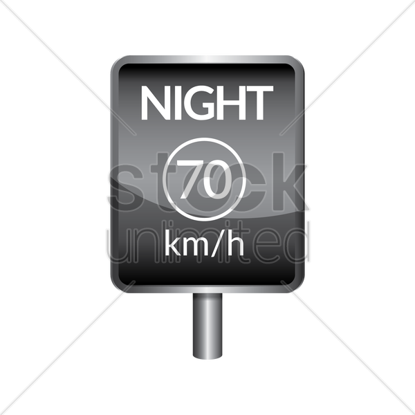 night speed limit 70 signboard vector graphic