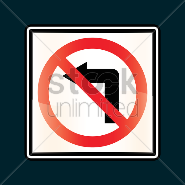 no left turn sign vector graphic