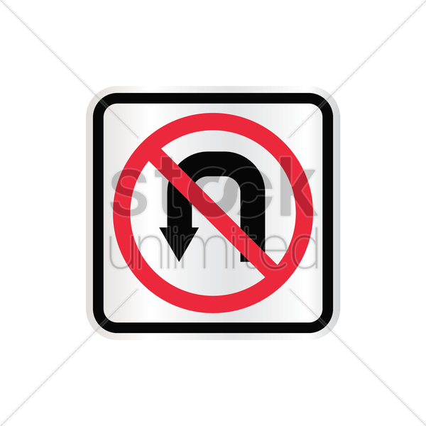 no u turn sign vector graphic