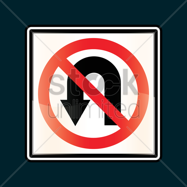 no u-turn sign vector graphic