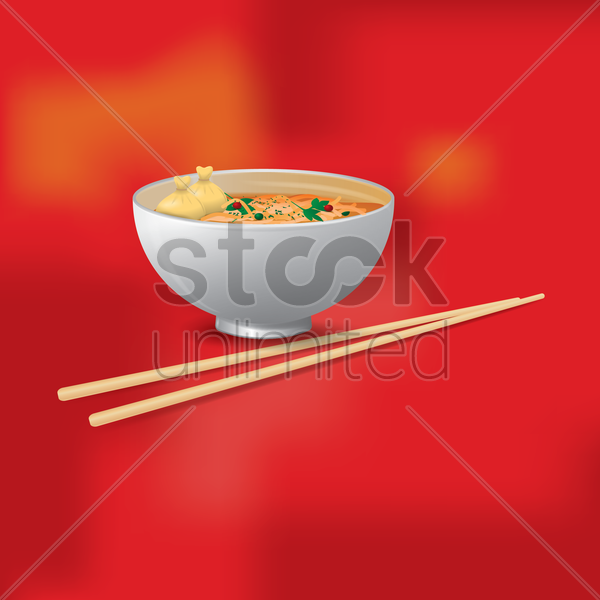 noodles bowl vector graphic