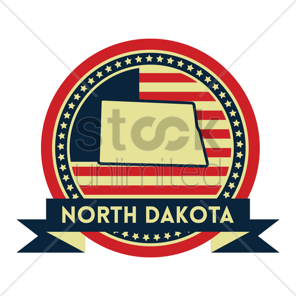 Free north dakota map label vector graphic