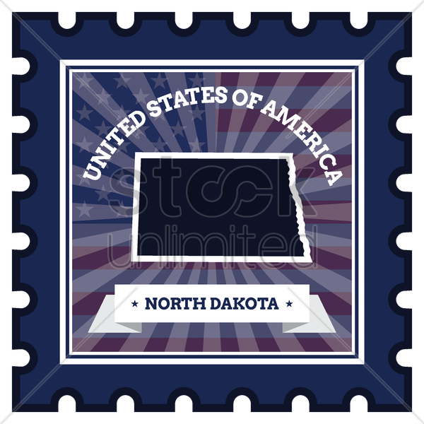 north dakota postage stamp vector graphic