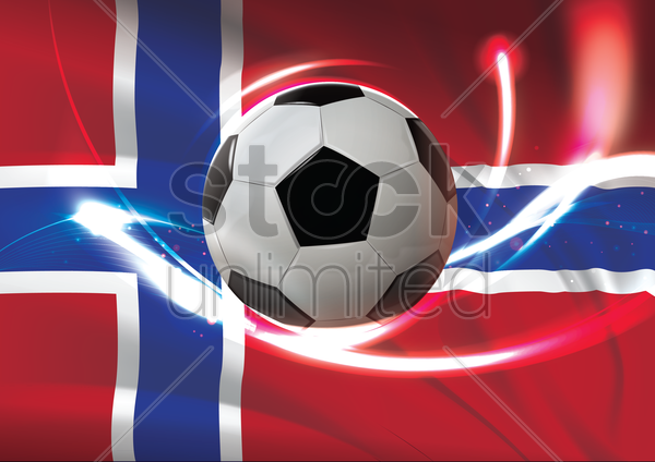 norway flag with soccer ball vector graphic