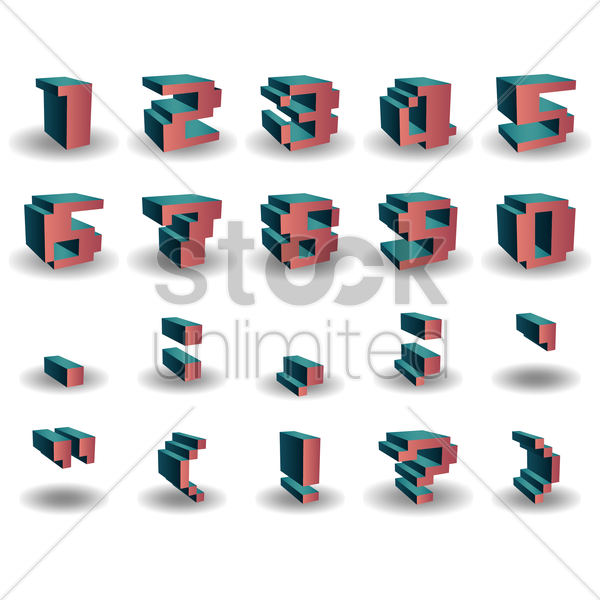 numbers collection vector graphic