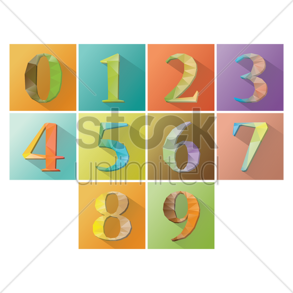 numbers set vector graphic