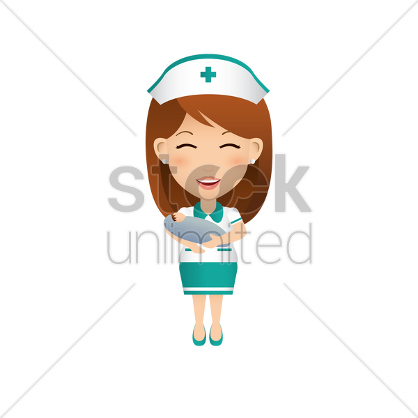 nurse carrying baby vector graphic