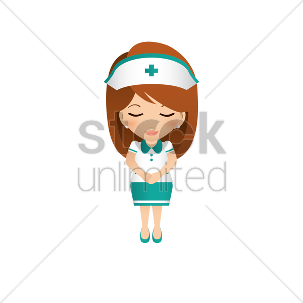 nurse with greeting pose vector graphic