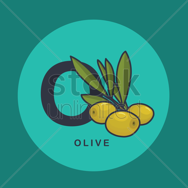 o for olive. vector graphic