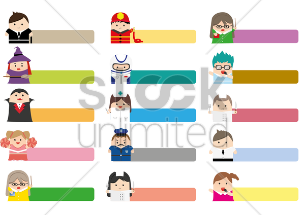 occupation labels vector graphic