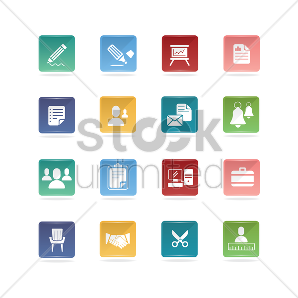 office and business icons vector graphic