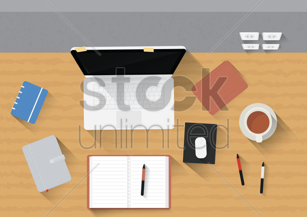 office desk with laptop, gadgets and stationery vector graphic