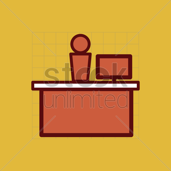 office front desk vector graphic