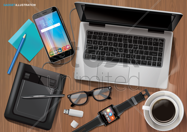 office gadgets vector graphic