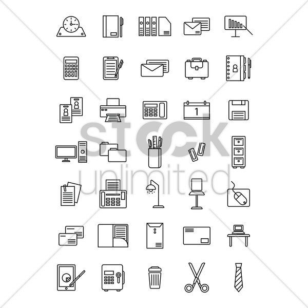 office icon set vector graphic