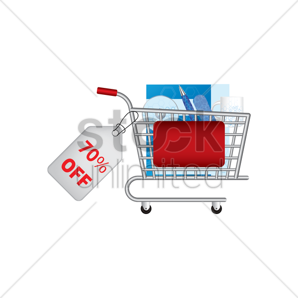 office set promotion in a shopping cart vector graphic