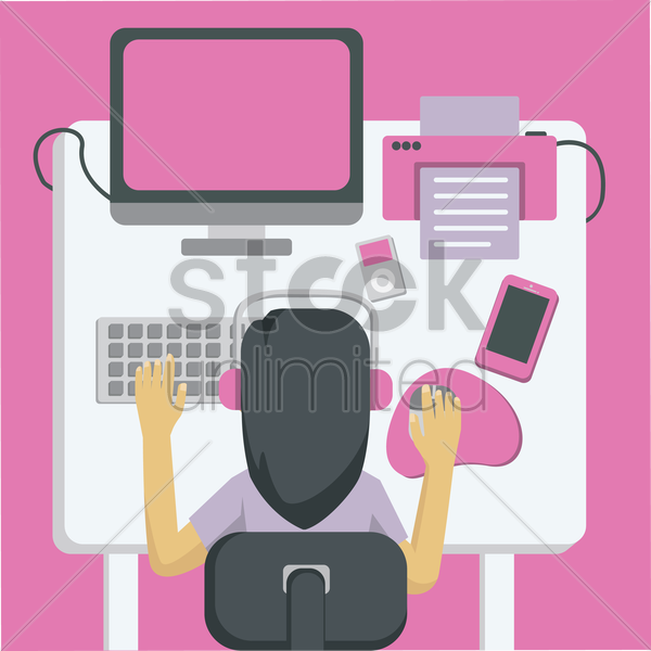 office table vector graphic