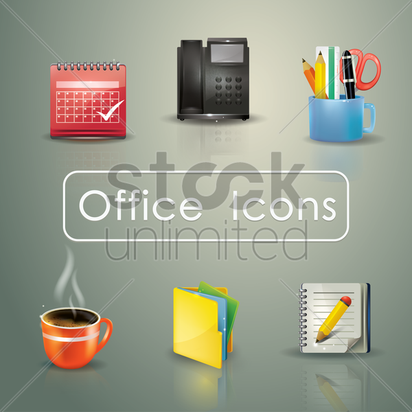 office themed icons vector graphic