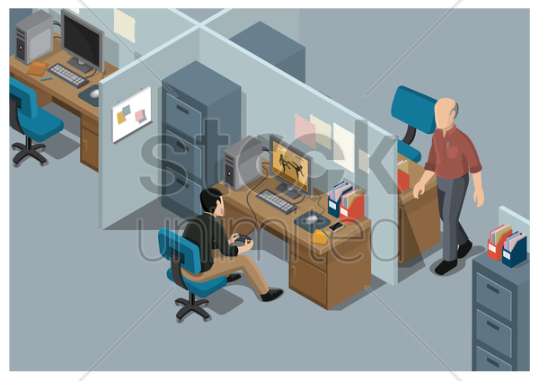 office workplace vector graphic