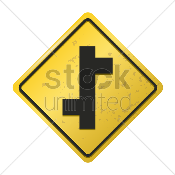 offset road sign vector graphic