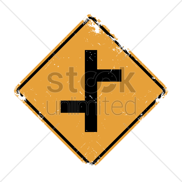 offset roads sign vector graphic