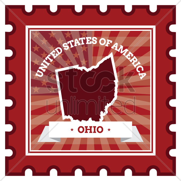 ohio postage stamp vector graphic