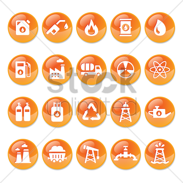 oil and gas buttons vector graphic