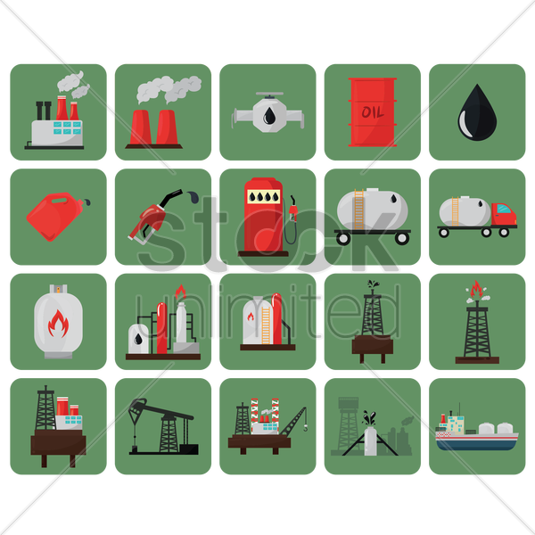 oil and gas icons vector graphic