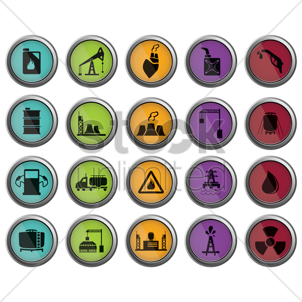 oil and gas industrial icons vector graphic