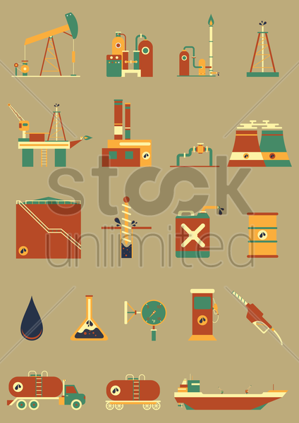 oil and gas industry icons vector graphic