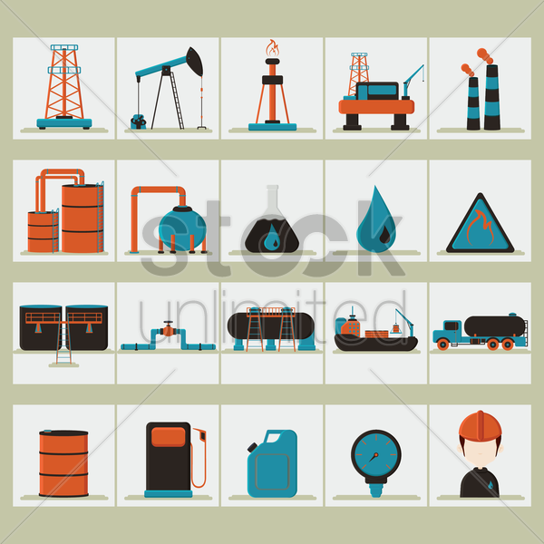oil and gas set vector graphic