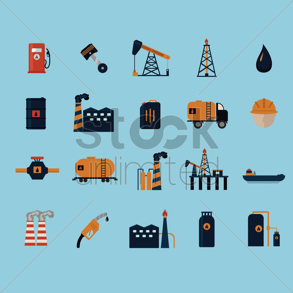 oil gas and petroleum icon set vector graphic