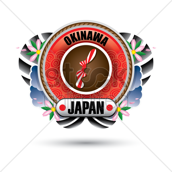 okinawa map sticker vector graphic