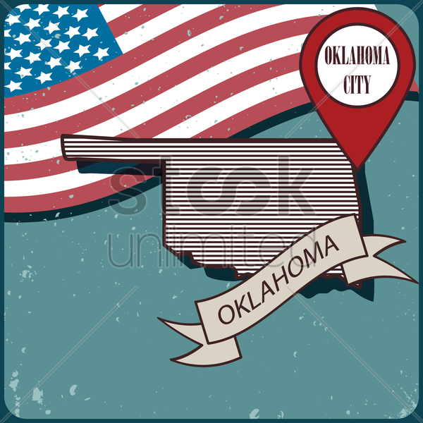 oklahoma map label vector graphic