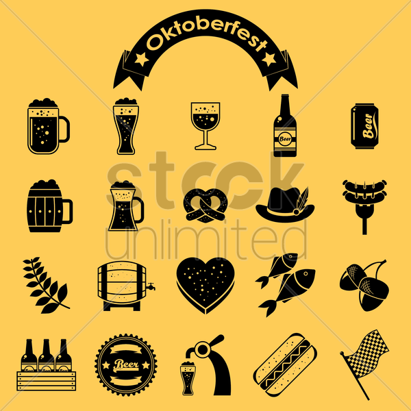 oktoberfest icon set vector graphic