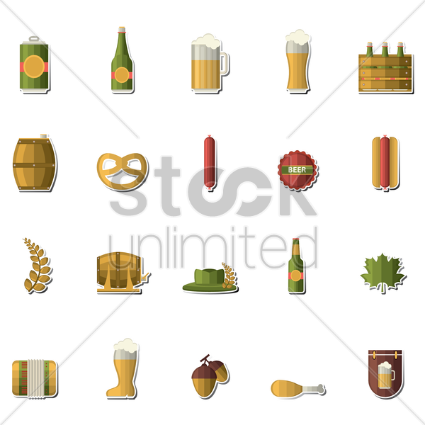 oktoberfest icons vector graphic