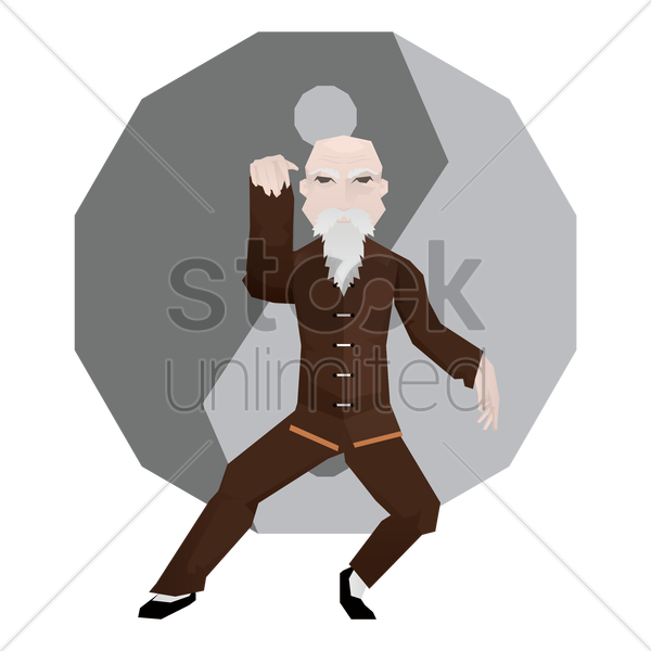 old man practicing martial arts vector graphic